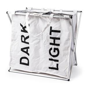 Sada košů na světlé a tmavé prádlo se stojanem, bílá