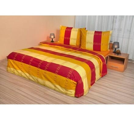Bavlněné povlečení Pruhy červenožluté, 220 x 200 cm, 2 ks 70 x 90 cm