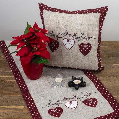 Faţă de masă Inimioare bulină, roşu, 40 x 90 cm