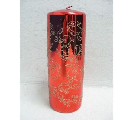 Vánoční svíčka červená, 7,5 x 19 cm, červená,  7,5 x 19 cm