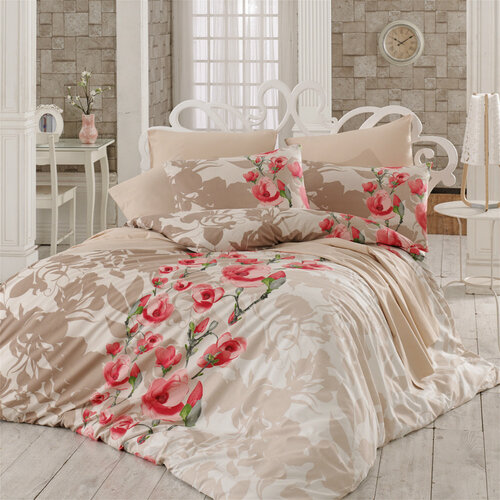 Pościel bawełniana Lamie czerwony, 140 x 200 cm, 70 x 90 cm