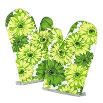 Rękawica kuchenna Kwiaty zielona, 28 x 18 cm, zestaw 2 szt.