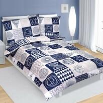 Lenjerie de pat din bumbac Patchwork albastru, 140 x 200 cm, 70 x 90 cm