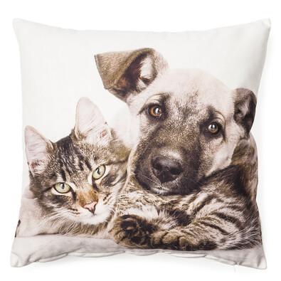 Obliečka na vankúšik Pes a mačka, 40 x 40 cm