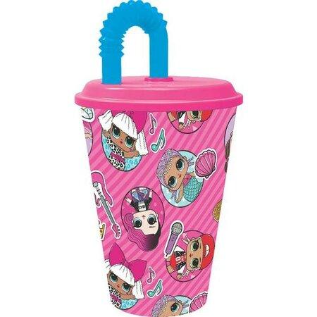Műanyag gyerek pohár szívószállal   Lol Surprise 430 ml