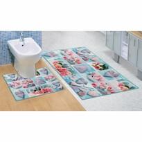 Bellatex Sada kúpeľňových predložiek Patchwork tyrkysová, 60 x 100 cm, 60 x 50 cm