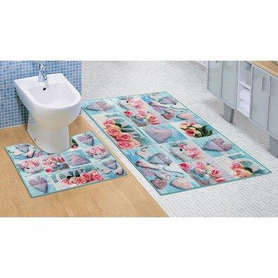 Bellatex Patchwork fürdőszobai szőnyeg szett, türkiz, 60 x 100 cm, 60 x 50 cm