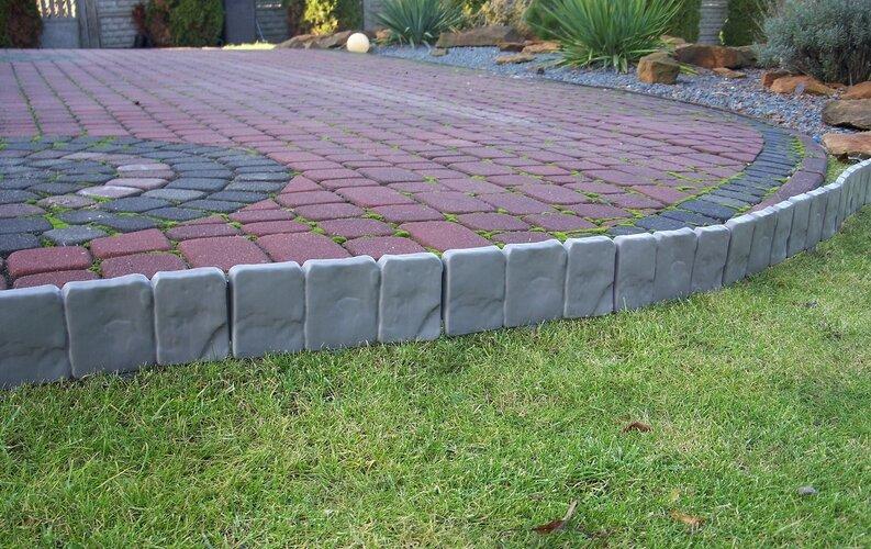 Palisadă grădină - bordură gri, 2,5 m