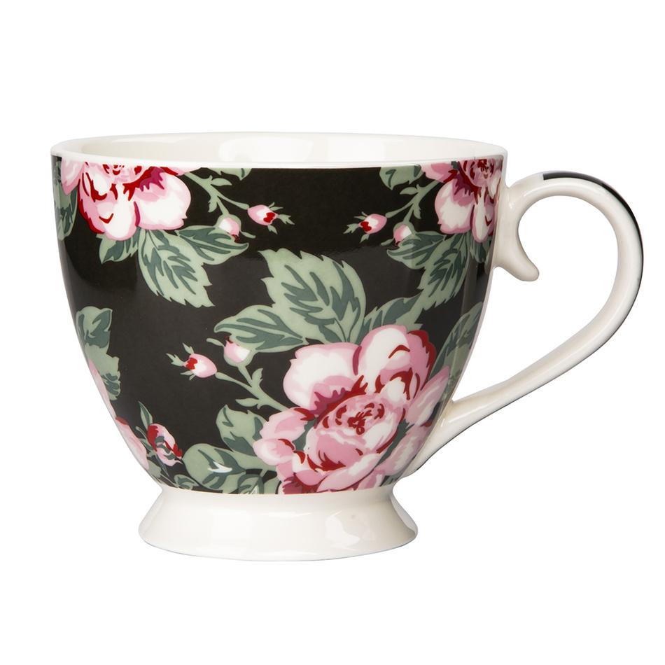 Altom porcelánový hrnček Paris Rose 420 ml, čierna
