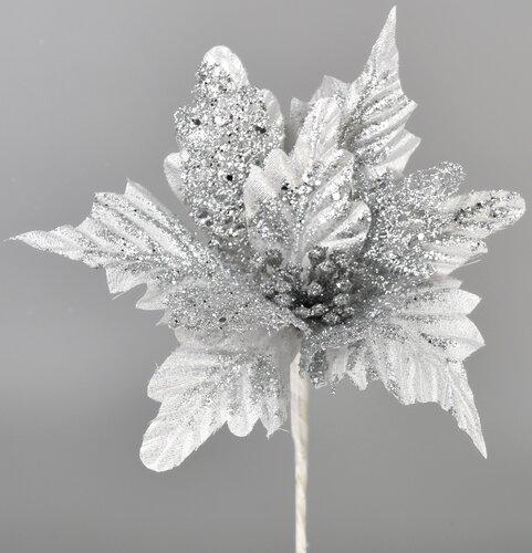 Umělá Poinsettie stříbrná, 25 cm