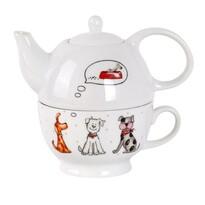 Toro porcelán teáskanna és csésze Kutyusok