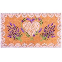 Kokosová rohožka Lavender Heart, 40 x 70 cm