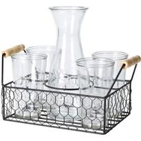 Set 4 pahare si carafă 1 l în suport de metal Excellent