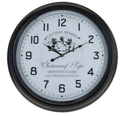 Kovové nástěnné hodiny s fancouzským designem Chat, černá, 65 x 63 x 75 cm