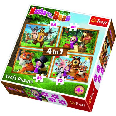 Trefl Puzzle Mása és a medve, 4 db