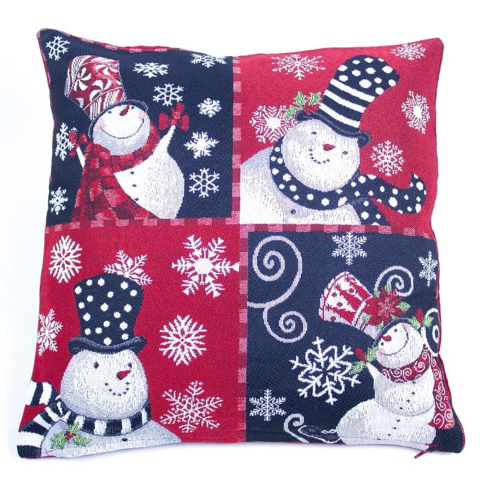 BO-MA Trading Vánoční povlak na polštářek Sněhuláci, 45 x 45 cm