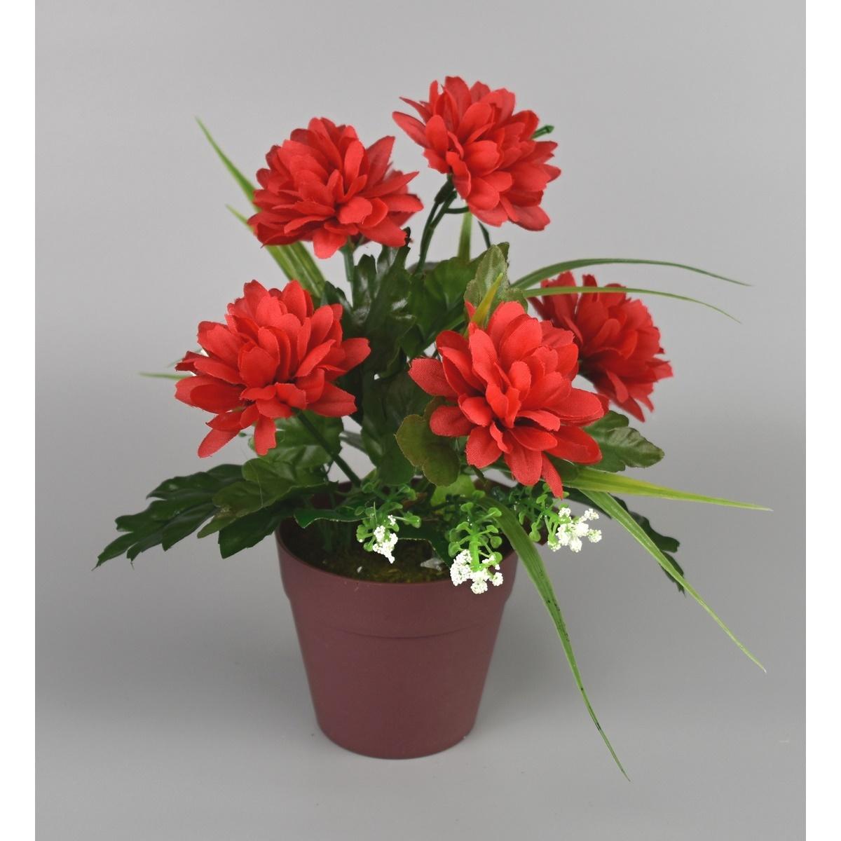 Umělá květina Chrysantéma v květináči 22 x 15 cm, červená