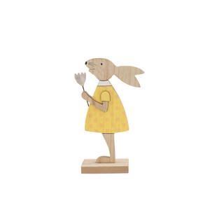 Dřevěný zajíc žlutá, 19 cm