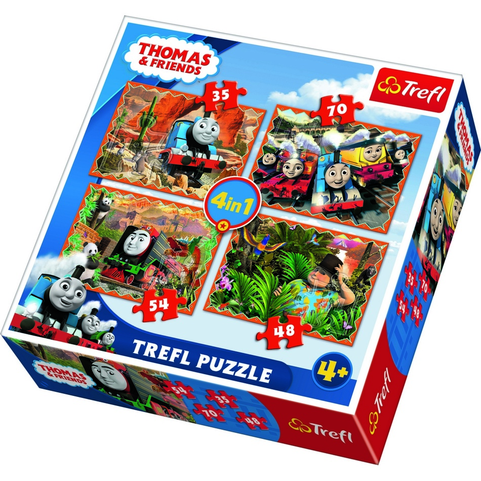 Produktové foto Puzzle TREFL Mašinka Tomáš 4v1 35,48,54,70 dílků