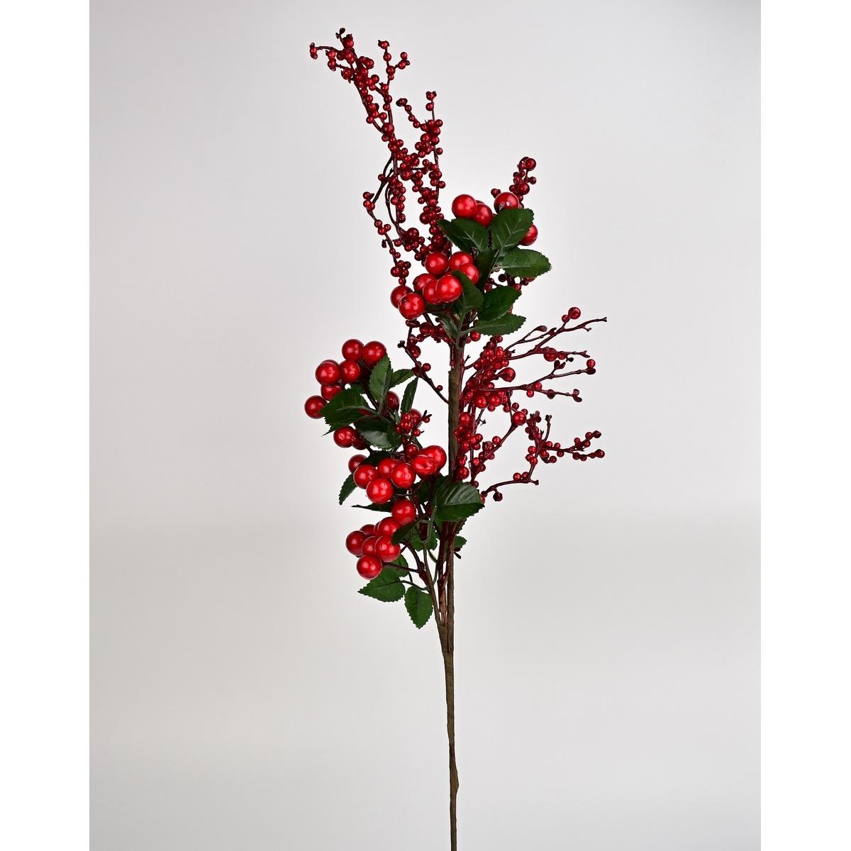 Podzimní dekorace větvička s červenými bobulemi, 60 cm