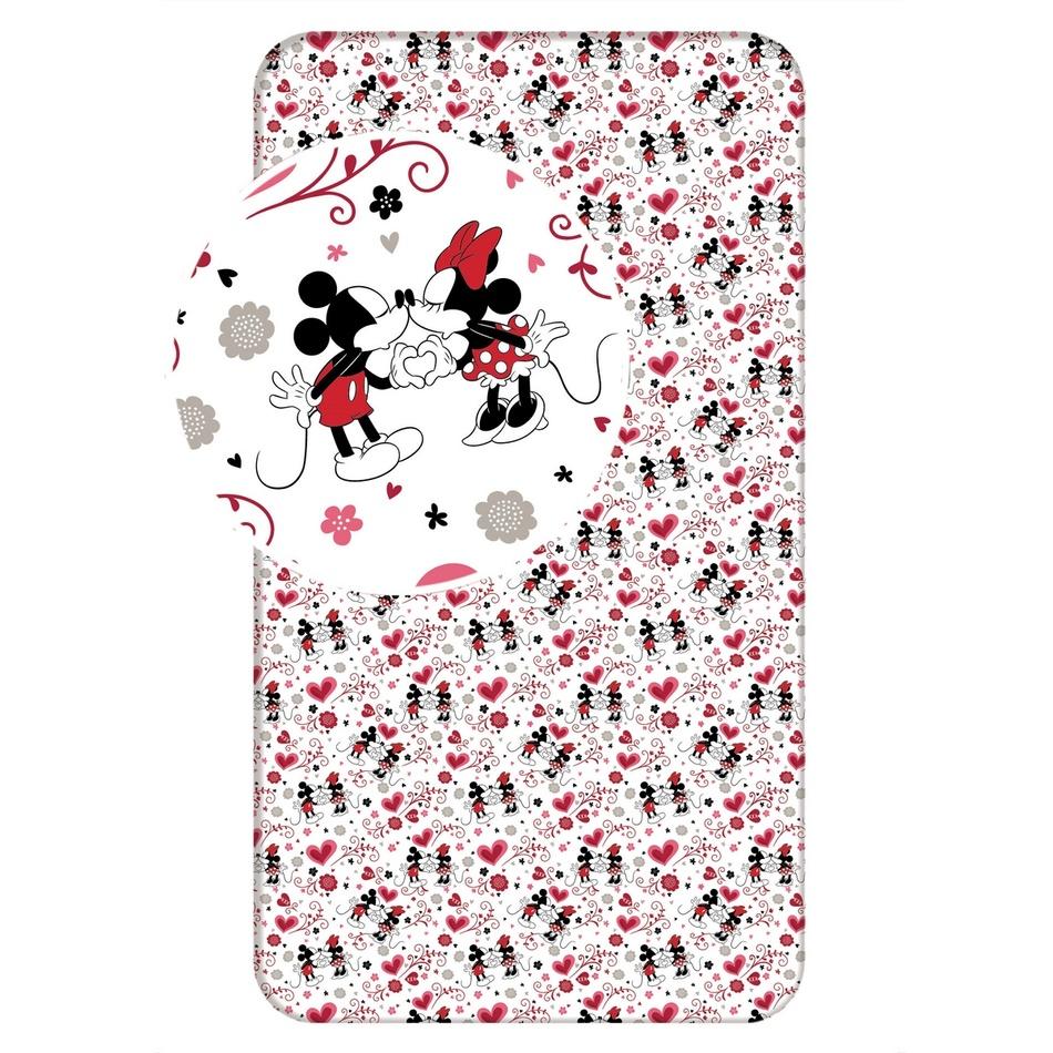 Jerry Fabrics dětské bavlněné prostěradlo Minnie hearts 2016 90x200