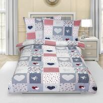 Lenjerie de pat din crep Inimă albastru, 140 x 200 cm, 70 x 90 cm