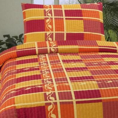 Krepové povlečení Oriente oranžová, 140x200, 70x90, červená + oranžová, 140 x 200 cm, 70 x 90 cm
