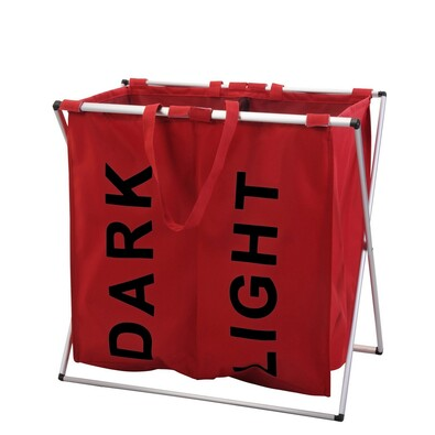 Kosz na jasne i ciemne pranie na stojaku, czerwony