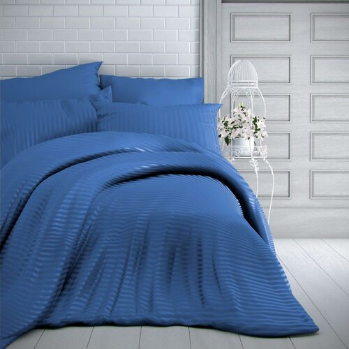 Lenjerie de pat Kvalitex Stripe, satin, albastru, 240 x 220 cm, 2 buc. 70 x 90 cm
