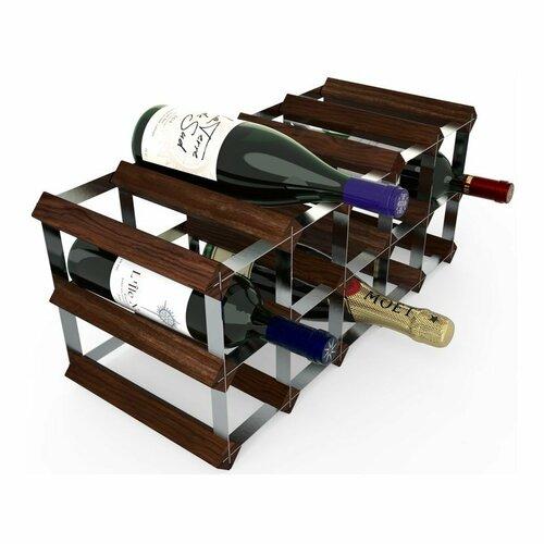 Stojan na víno RTA na 15 lahví, tmavá borovice - pozinkovaná ocel / rozložený
