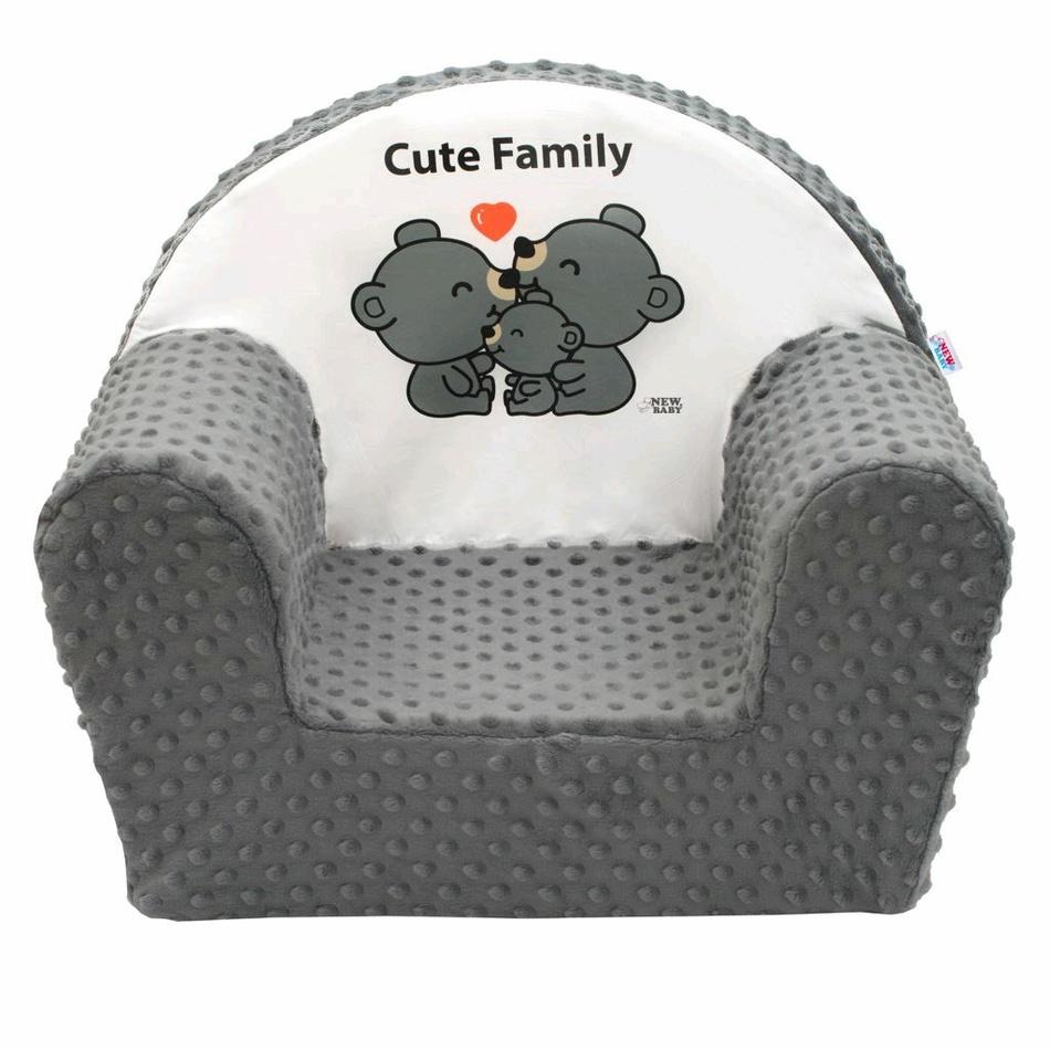 NEW BABY Detské kresielko z Minky Cute Family šedé Polyester 42x53 cm