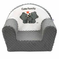 New Baby Fotelik dla dzieci z Minky Cute Family szary, 42 x 53 cm