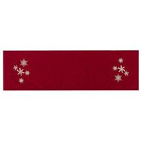 Vánoční běhoun Vločky červená, 40 x 140 cm