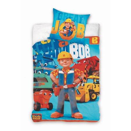 Detské bavlnené obliečky Bob staviteľ modrá, 140 x 200 cm, 70 x 90 cm