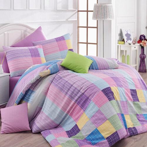Bedtex Bavlněné povlečení Karo fialová, 140 x 200 cm, 70 x 90 cm
