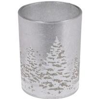 Skleněný svícen se svíčkou Zimní krajina 10,5 cm, šedá