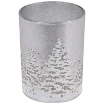 Sklenený svietnik so sviečkou Zimná krajina 10,5 cm, sivá