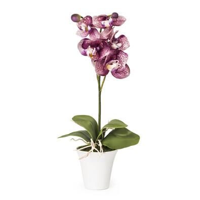 Umělá orchidea v květináči fialová
