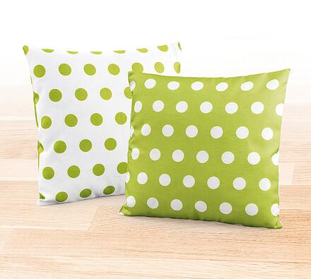 Dekorační polštářky Zelený puntík, 38 x 38 cm, sad, bílá + zelená