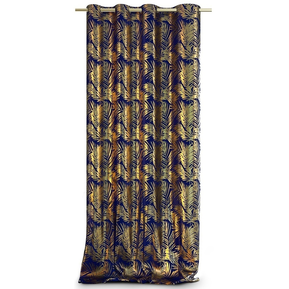 AmeliaHome Záves Velvet Golden Leaves indigo, 140 x 245 cm