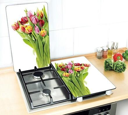 Kryty na sporák - tulipány, 2 kusy, viacfarebná