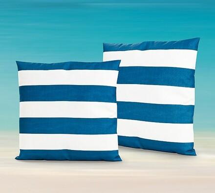 Dekorativní polštářky s modrými pruhy, 2 kusy