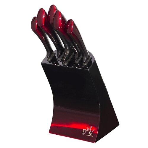 Sada nožů ve stojanu 6 ks Black Burgundy Metallic Line BH-2176