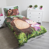 Lenjerie de pat copii Jerry Fabrics, din bumbac, Masha și ursul, blue, 140 x 200 cm, 70 x 90 cm