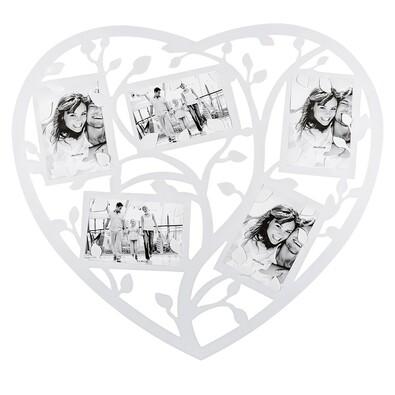 Fotorámeček srdce pro 5 fotografii bílá