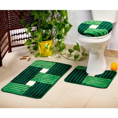 Koupelnové předložky Borneo tmavě zelená, sada 3 ks