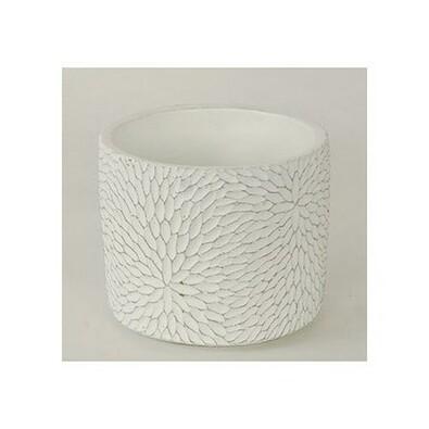 Betonový obal na květináč Flower bílá, pr. 12,5 cm