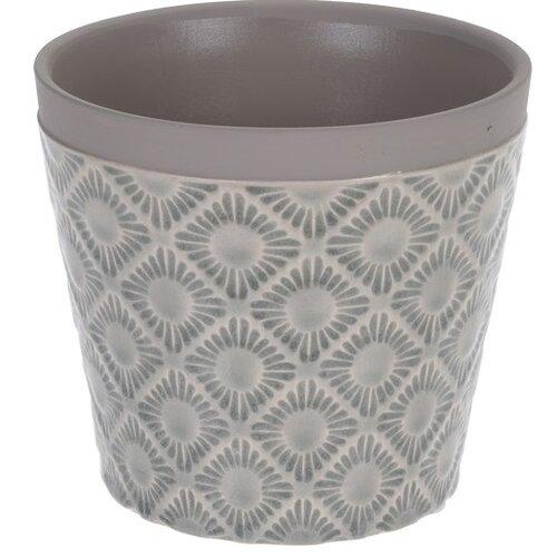 Osłonka ceramiczna na doniczkę Gandia jasnoszary,śr. 12,5 cm