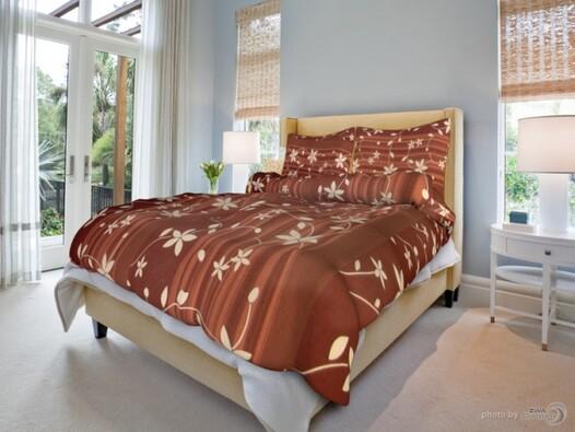 Bavlněné povlečení Liana hnědá, 140 x 200 cm, 70 x 90 cm