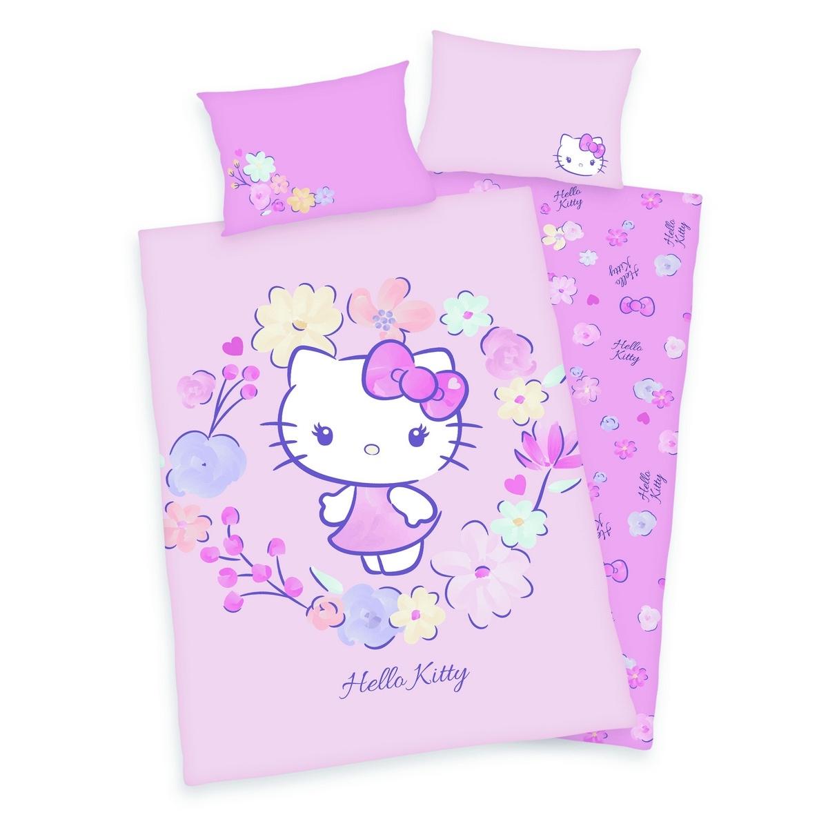 Herding Detské bavlnené obliečky do postieľky Hello Kitty, 100 x 135 cm, 40 x 60 cm